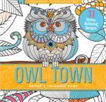Adult level coloring book with bird, feather, and owl designs