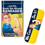 Collectible band aids in tin with Rosey the Riveter