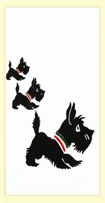 Three adorable Scottie Dogs decorate this 100% cotton flour sack towel. Towel measures 17