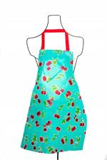 Adult sized bib apron made of oilcloth for quick and easy cleanup around the kitchen. Features adjustable webbing strap that can easily fits to height. It is suitable for both men and women to wear. A double front pocket has practical uses. Use your styli