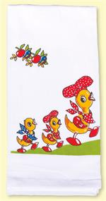 Super-de-duper duck family with little chef hats is printed on a 100% cotton flour sack. Measures 17