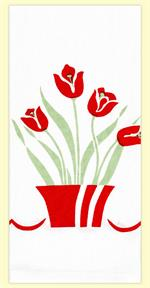 Decorate your kitchen with this simple, yet fun, floral print. Bright and cheerful red tulip flowers in a red flower pot and simple light green leaves in the background. 100% cotton flour sack towel measures 17