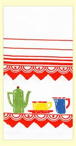 Red and White Kitchen Company makes retro, vintage inspired kitchen towels created from actual image from the 1940s and 1950s. Each towel is made of 100% cotton. Measures 17