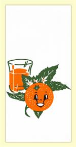 Bring some cheery fun into your kitchen with this vintage inspired flour sack towel. The 1950s print features a cheerful orange face, bright green leaves, and a fresh squeezed glass of orange juice. 100% Cotton flour sack towel measures 17
