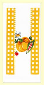 A delightful, farmers market inspired vintage print. Features an orange pumpkin, surrounded by orange gingham print, fresh ears of corn, and a dainty radish. 100% cotton flour sack towel measures 17