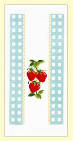Vintage look kitchen towel features brightly colored red strawberries surrounded by a sky blue gingham check border. A cute addition to any country kitchen. 100% Cotton flour sack towel measures 17