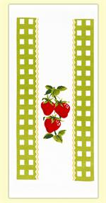 Farmer's market inspired kitchen towel features brightly colored red strawberries surrounded by a light green gingham check border. A cute addition to any country kitchen. 100% Cotton flour sack towel measures 17