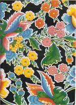 Oil Cloth Zoya on Black Full Bolt Floral Fabric