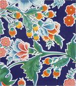 Oil Cloth Zoya on Blue Yardage Floral Flower Fabric Material