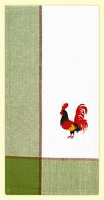 Classic Green Rooster Towel is 100 percent cotton in a soft flat weave. These have a red woven color border with bottom print of a retro country rooster. Looks great folded with border showing, or folded so just center panel is displayed. Measures 17