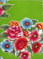 Bright floral pattern fabric on green