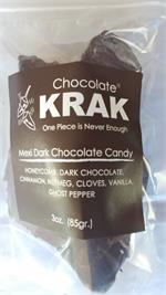 Spicy Mexi Dark Chocolate Krak Candy, 3 ounce bag  What is Chocolate Krak? Chocolate Krak is a candy, often called honeycomb or seafoam, made by melting sugar, corn syrup , honey and baking soda together. It then foams up giving it the seafoam like textur