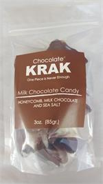 What is Chocolate Krak?Chocolate Krak is a candy, often called honeycomb or seafoam, made by melting sugar, corn syrup , honey and baking soda together. It then foams up giving it the seafoam like texture. This honeycomb is then dipped in Fair Trade Certi