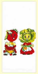 This design has been with our company from the start and still is one of our top sellers! Our Veggie couple is adorable and endurable. 100% Cotton Flour Sack kitchen towel