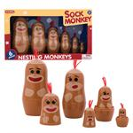 Russian Stacking Doll style plastic sock monkey toy