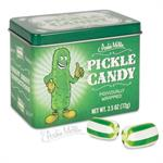 Pickled flavored candy in tin for fun or joke