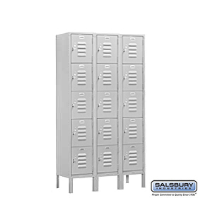 BOX STYLE STANDARD LOCKER-FIVE TIER-3 WIDE-5 FEET HIGH-15 INCHES DEEP-GRAY-UNASSEMBLED