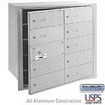 10 DOOR (9 USABLE) 4B+ HORIZONTAL MAILBOX-ALUMINUM-FRONT LOADING-B DOORS-USPS ACCESS