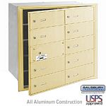 10 DOOR (9 USABLE) 4B+ HORIZONTAL MAILBOX-SANDSTONE-FRONT LOADING-B DOORS-USPS ACCESS