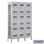 EXTRA WIDE VENTED LOCKER-TRIPLE TIER-3 WIDE-6 FEET HIGH-15 INCHES DEEP-GRAY-UNASSEMBLED