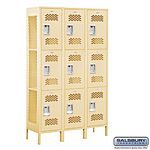 EXTRA WIDE VENTED LOCKER-TRIPLE TIER-3 WIDE-6 FEET HIGH-15 INCHES DEEP-TAN-UNASSEMBLED