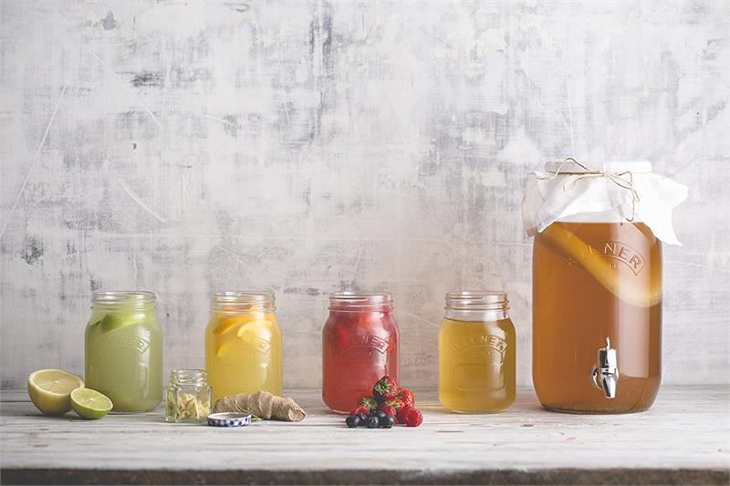 Clear Kilner Glass 3 Liter Kombucha Drink Set #0025.895 Dispenser with Tap