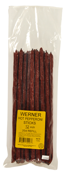Werner Jerky Hot and Spicy Pepperoni Beef Sticks, 20 pieces