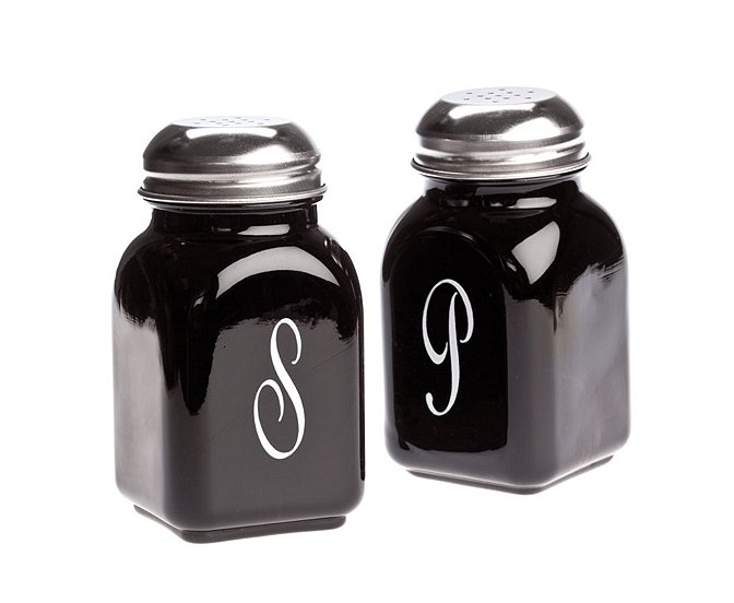 Mosser Glass Black Raspberry Monogram Salt & Pepper Shakers