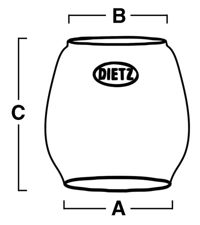 Official Dietz Lantern Replacement Globe For Model 80 70 10