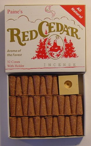 Paines Red Cedar 32 Cones With Holder Real Wood Incense Paine Products Paine/'s