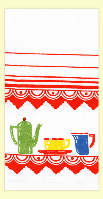 Red and White Kitchen Art Deco Kitchen Flour Sack Towel #VL68