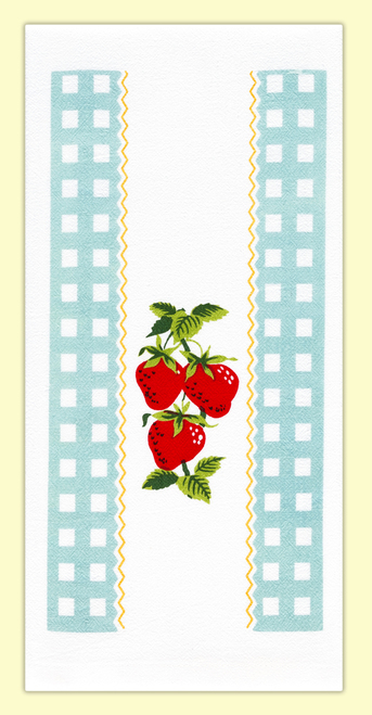 Red And White Kitchen Strawberry Time In Blue Flour Sack Towel Vl78