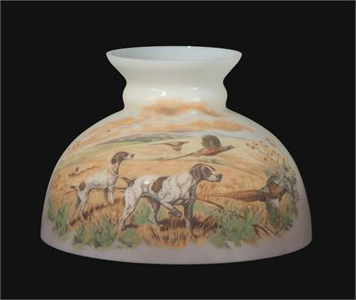 "10"" Student Style Glass Lamp Shade with Pheasant Hunt Scene #0106"