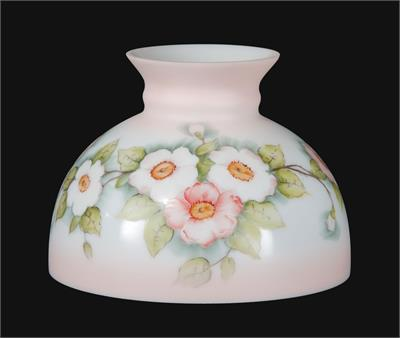 "10"" Student Style Glass Lamp Shade with Apple Blossoms #01164 Floral Shade for Antique Lamps"