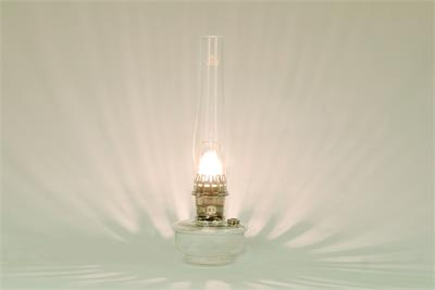 Safe non electric kerosene mantle lamp for indoor use on shelf, mantle, or table