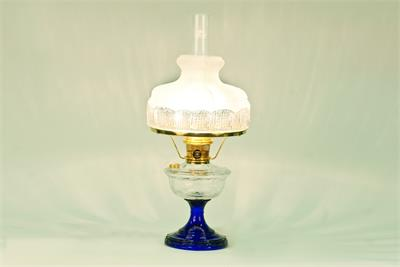 Glass Turn of the Century style kerosene or electric table lamp.