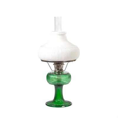 Emerald Green Glass Old Fashioned Table Lamp with White Lamp Shade