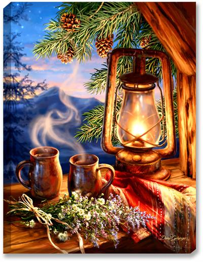 Two mugs of morning coffee sit, overlooking the Mountain sunrise (with stars still in the sky), complete with a lantern, woven blanket, log cabin window sill, pine cones and evergreen boughs, and freshly picked wildflowers.