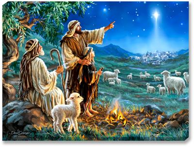 Three shepherds tend to their flock of sheep and lambs, while overhead the bright star of Bethlehem guides them.