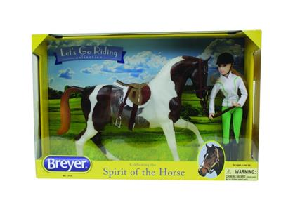 "The perfect gift for any child or beginning model horse exhibitor who loves English riding! Set comes with spotted Pinto Sport horse, English saddle set with bridle, and an 8"" articulated rider dressed in casual riding attire. Includes 11"" x 17"" color pos"