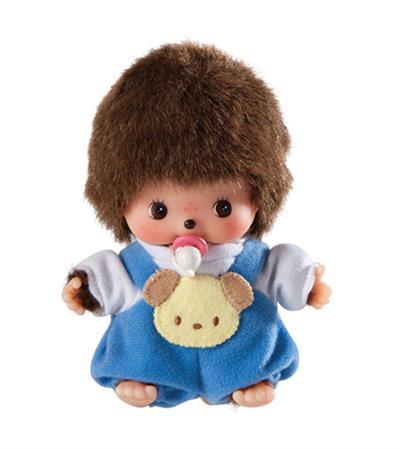"This cute little Bebichhichi (baby Monchhichi) is dressed and ready to snuggle. Features an adorable blue romper with a puppy patch and pacifier. Measures 5.91"" tall. Ages 3 & up."