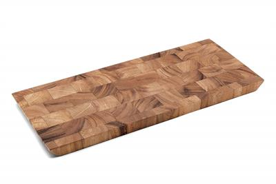A perfect way to serve your prepared meats. This Bowery End Grain Cheese and Charcuterie Board is made from gorgeous acacia wood. Unlike traditionally made boards, end grain construction is less dulling to cutlery because the wood grain direction accommod