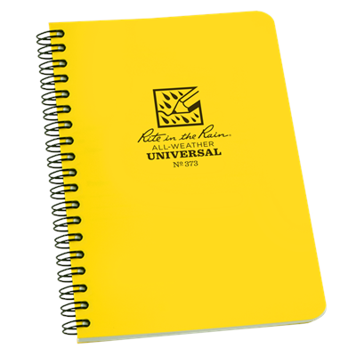 "This waterproof book comes with 4 5/8"" x 7"" size pages, a Polydura cover and side spiral wire-o binding. 64 pages (32 sheets)."