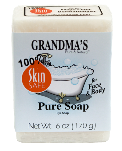Grandma's Lye Soap Bar - Best Selling, All Natural Soap  No detergents, dyes, fragrance or other additives. Just pure soap. Clinically tested to be safe and mild on skin. SkinSafe rating of 100. Great for dry, itchy winter skin. Pure mild soap fomula used