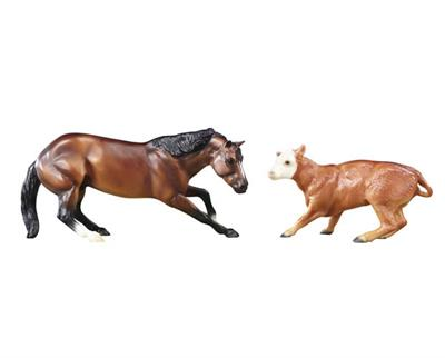 Breyer Horses Classics Size Cutting Horse and Calf Gift Set #61091 Fall 2015 Mid Year Introduction Model