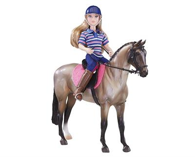 Bay Roan Warmblood or Sporthorse Type Model Horse with Female Rider Doll and Tack