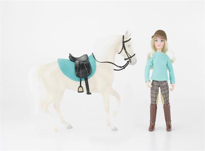 "Set includes: 6"" Articulated English Rider Doll, Black Faux Leather English Saddle, Black Faux Leather English Bridle with Reins, and turquoise English Saddle Pad."