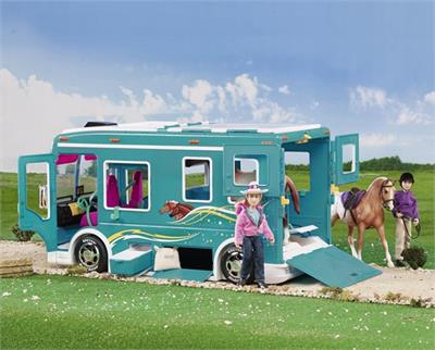 Motorhome Horse Trailer for Model Horses in fun girly colors