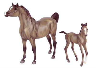 Rose Grey model horses. Arab stallion and foal.