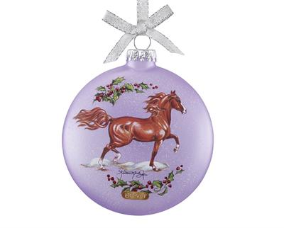 Two Sided Glass Ornament features two Arabian horses